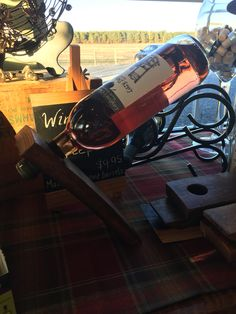 Wine bottle keepers made from wine barrels!