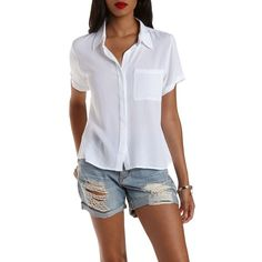 Charlotte Russe White Gauzy Covered Placket Button-Up Top by Charlotte... ($23) ❤ liked on Polyvore