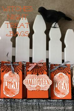 For a fun Halloween treat make up these cute Witches Night Treat Bags!: