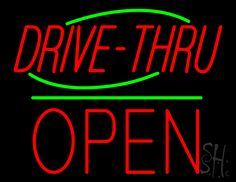 Drive-Thru Block Open Green Line Neon Sign 24 Tall x 31 Wide x 3 Deep, is 100% Handcrafted with Real Glass Tube Neon Sign. !!! Made in USA !!!  Colors on the sign are Red and Green. Drive-Thru Block Open Green Line Neon Sign is high impact, eye catching, real glass tube neon sign. This characteristic glow can attract customers like nothing else, virtually burning your identity into the minds of potential and future customers.