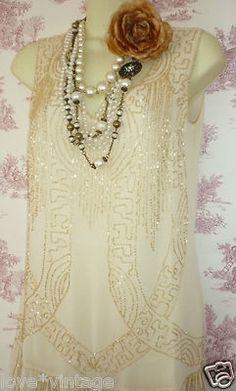 BNWT Deco Charleston Flapper 20's Style Beaded Sequin Cream Gold Dress 10   eBay