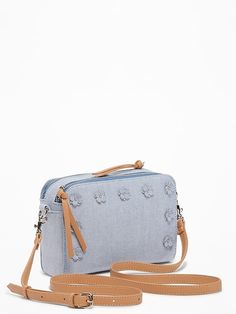Old Navy Chambray Flower-Applique Camera Bag for Women Filter Camera, Flower Applique, Summer Bags, Maternity Wear, Chambray, Latest Fashion, Old Navy, Photo Editing, Man Shop