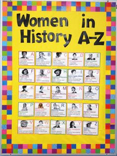 Women's History Month bulletin board: Women in History A-Z.