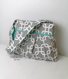 Stella Diaper Bag Medium -Grey Gotcha with Mint -READY to SHIP  Nappy Bag 6 pockets Adjustable Strap Attach to Stroller by marandalee on Etsy