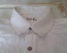 Linen Shirts White Men Shirt Mens Slim Long Sleeve Dress Shirt White Dress Shirts Mens formal shirt Custom made shirt Beach wedding