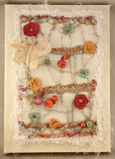 Image result for repurpose old canvas picture with fiber art