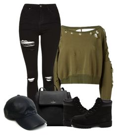 """""""Yeezy"""" by jullianaisabel ❤ liked on Polyvore featuring Unravel, Topshop, Kate Spade, Vianel and Timberland"""