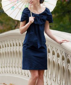Take a look at this Navy Bethesda Fountain Dress by Shabby Apple on #zulily today!