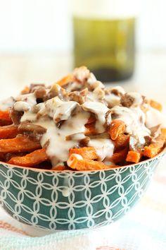 Duck Confit Sweet Potato Fries with Smoked Gouda Cheese Sauce | The Suburban Soapbox #SpringIntoFlavor #cheesefries