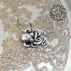 Octopus Keychain - Handmade Artisan Pewter - Octopus Squid Tentacle Zipper Pull - Cthulhu Inspired Steampunk Cephalopod Swag by Doctorgus Squid Tentacles, Octopus Squid, Octopus Jewelry, Spoon Jewelry, Little Octopus, Cthulhu, Pewter, The Help, Sculpting