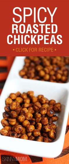 Spicy Roasted Chickpeas from . 139 calories in a of this recipe! Snack on, people ; Spicy Recipes, Appetizer Recipes, Vegetarian Recipes, Cooking Recipes, Healthy Recipes, Spicy Appetizers, Healthy Snacks, Healthy Eating, Tasty