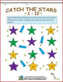 Catch the Stars 1-12 - a math fact game for 2-3 players age from 1st grade and up