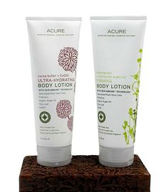 Acure Hydrating Body Lotion in Cocoa Butter and Firming Body Lotion in Lemongrass.