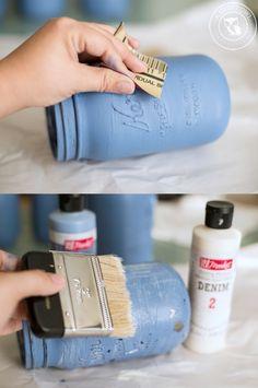 Denim Painted Mason Jars | anightowlblog.com                                                                                                                                                                                 More