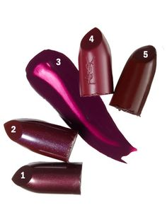 Fall Makeup Colors: 1. Smashbox Be Legendary Lipstick in Black Plum 2. CoverGirl Queen Collection Lipcolor in Fine Wine 3. OCC Lip Tar in Dekadent 4. YSL Beaute Rouge Pur Couture Mat Lipstick in Prune Avenue 5. Revlon Super Lustrous Lipstick in Black Cherry makeup color, lustrous lipstick, plum lipstick