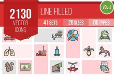 2130 Line Filled Icons (V3) by IconBunny on @creativemarket