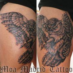 Diseño y creación del tatuaje de búho realista. Moa Madrid Tattoo, tu elección mejor de tatuador en Madrid.  Tu tattoo profesional, en mi estudio de tatuaje.