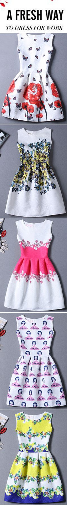 Cute dresses worth buying for dressing up&dressing down under $15. Pretty floral print little dress for girls. Fit a-line skater short dress for women. Perfect dress for school & date. Find more at romwe.com.