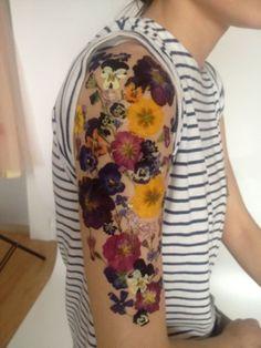 Colorful Floral Tattoo Design For Men Half Sleeve