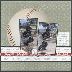 Scrappin' Sports & More: baseball . Baseball Scrapbook, Kids Scrapbook, Photo Album Scrapbooking, Scrapbook Albums, Scrapbooking Layouts, Scrapbook Cards, Paper Bag Scrapbook, Picture Layouts, Scrapbook Layout Sketches