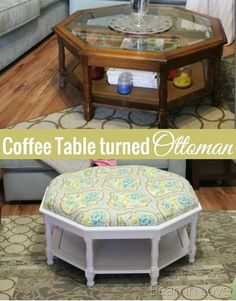 Turning a thrifted coffee table into a tufted ottoman - a detailed tutorial | Bean In Love #refurbishedfurniture