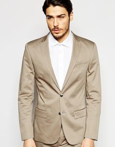 River Island Skinny Fit Suit Jacket In Camel