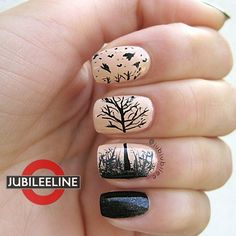 Remarkable nail design nude and black detail nail design bare tree sparrows birds whimsical nail art