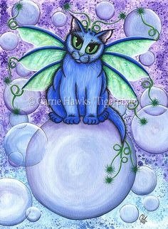 Bubble Fairy Cat,  Prints & Gift Items featuring this image are available on my website. Tigerpixie Art Studio, http://Tigerpixie.com © Carrie Hawks, Cat Paintings, Fantasy Cat Art