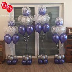 Purple Party Decorations, Birthday Balloon Decorations, Balloon Centerpieces, Birthday Balloons, Balloon Columns, Balloon Garland, 40th Birthday Parties, Mom Birthday, Balloon Bouquet