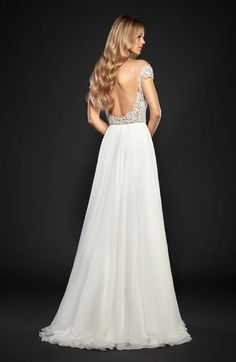 Main Image - Hayley Paige Celine Embellished Illusion & Chiffon A-Line Gown (In Stores Only)