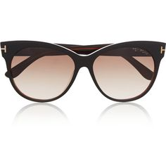Tom Ford Saskia cat-eye acetate sunglasses ($395) ❤ liked on Polyvore featuring accessories, eyewear, sunglasses, glasses, occhiali, black, cateye glasses, cateye sunglasses, black glasses and cat eye glasses