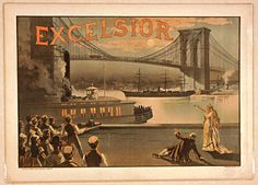 Vintage Brooklyn Bridge Excelsior Advertising Framed Wall Art — Giclee print and framed in USA by MUSEUM OUTLETS