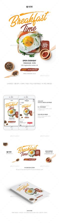 Food Flyer & Social Media Banner - Restaurant Flyers