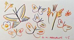 Milionis Butterflies - Flying Rainbow Heart - Signed Colored Pencil Drawing 2015 #PopArt