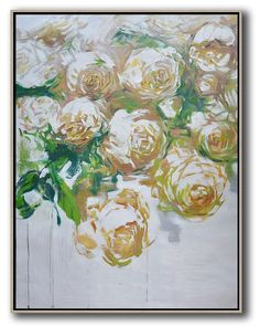 Vertical Abstract Flower Oil Painting #LX5B #Abstract #Artists_Lin-Xiang #flower-oil-painting