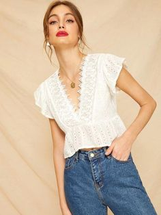 To find out about the Contrast Lace Eyelet Embroidered Peplum Blouse at SHEIN, part of our latest Blouses ready to shop online today! Fashion Sites, Fashion Tips For Women, Fashion Outfits, Pll Outfits, Peplum Blouse, Kimono Fashion, Lace Tops, Types Of Sleeves, Tunic Tops
