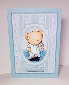 FIRST HOLY COMMUNION BOY BEAR Card Topper Card made by Lynda Tully. Download designed by Janet Briggs