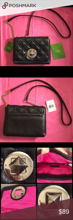"""Kate Spade Quilted Naomi Astor Court Crossbody💄 Adorable Kate Spade Astor Court 'Naomi' Crossbody. Black body with gold chain and accents, and hot pink """"Kate Spade New York"""" printed throughout inside. Has a flap top with turn and lock closure, and one pocket inside. Beautiful condition, NWT! Has care card included as well. This purse is super soft and is the perfect size for bringing essentials on a night out or everyday use. Reasonable offers accepted ✨ kate spade Bags Crossbody Bags"""