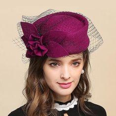 9853de2a88f British flower pillbox hat with veil for women purple wool occasion hats  winter wear