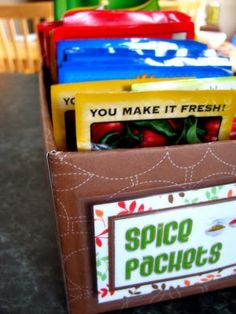 Tissue box turned into spice packet holder, kitchen pantry organization | IHeart Organizing