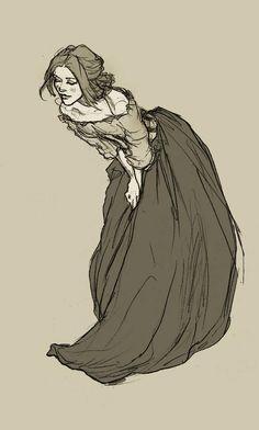 by Abigail Larson folds cloth pose # Art Sketches, Art Drawings, Pen Sketch, Desenhos Halloween, Abigail Larson, Wow Art, Character Drawing, Character Sketches, Character Illustration
