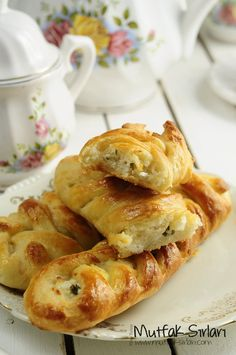 Turkish pastry:pogaca with white cheese and pearsly. Örgü Poğaça