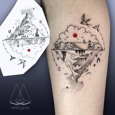 """She puts a red dot on all of her drawings. That's kinda cute :) (@mentat_gamze) #tattoo #tattoostagram #dotwork #linework #ink #inked…"""""""