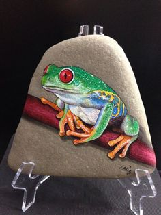 "Original Hand Painted Signed Rock/Stone ""Red Eyed Tree Frog"""
