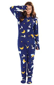 Purple with White Accents Hooded Pajamas for Women | Footed ...