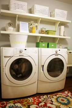 Storage over washer and dryer...clean & simple.