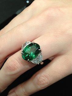 Magnificent tsavorite garnet and diamond ring.