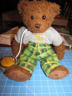 Pj pants for a teddy bear.... (or a Build-a-Bear).  Way cheaper and super easy to make your own rather than buy the accessories at the store.
