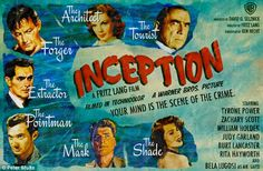 "an 18 x 24 inch poster cm x cm) printed on semi-gloss paper. ""Inception"" is re-imagined as a Fritz Lang film with an all-star cast: Ty. Blake Edwards, Richard Gere, Classic Movie Posters, Classic Movies, Classic Tv, Classic Style, Cinema Posters, Film Posters, Old Movies"