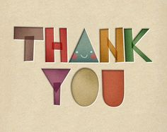 Thank You Print 8 x 11.5 - Friend Typography grateful colorful cute. $22.00, via Etsy.
